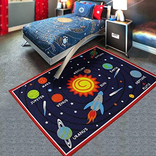 HUAHOO Kids Rug Educational Learning Carpet Galaxy Planets Stars Blue Children's Fun Area Rug Nursery Rugs Solar System Rectangle Rug (Solar System, 39'x51')