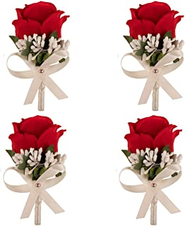 Aivanart 4 Pcs Rose Boutonnieres Groom Flower for Wedding Party Prom Man Suit Decoration Red