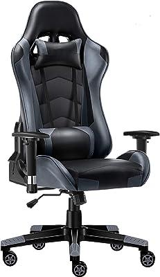 ゲーミングチェア オフィスチェア ゲーム用チェア デスクチェア 無段階170°リクライニング 多機能 パソコンチェアー PUレザー ヘッドレスト ランバーサポート 2Dひじ掛付き ハイバック gaming chair 座り心地良い 通気性抜群 130KG耐荷重 18ヶ月無償保証期間 レーシングチェア グレー A07GE