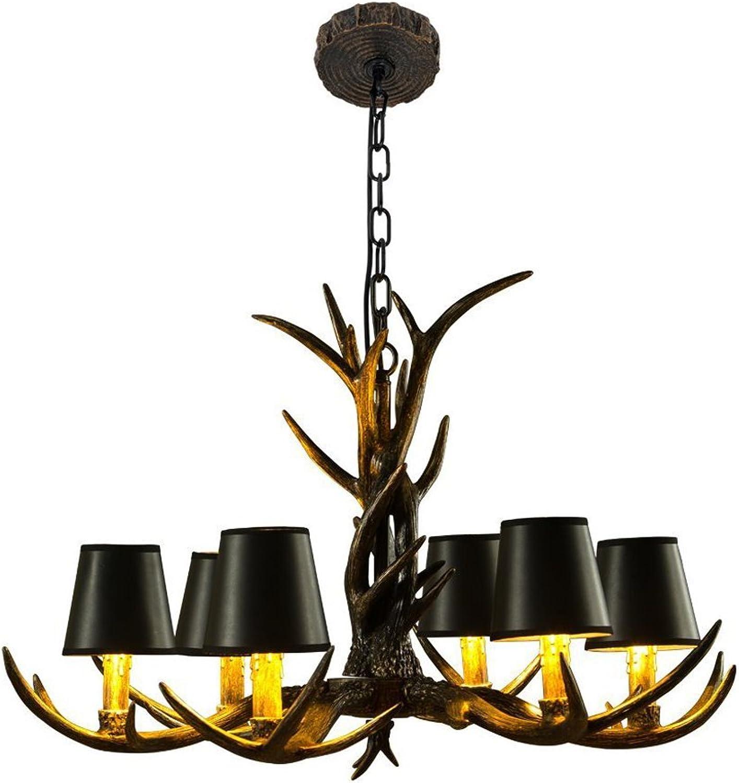 & Perfect  - Antlers Vintage Style Harz 6 Licht Kronleuchter, American lndlichen Geweih Kronleuchter, Wohnzimmer, Bar, Cafe, Esszimmer Hirsch Horn Kronleuchter