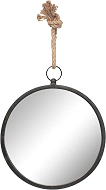 Stonebriar Round Nautical Mirror for Wall with Hanging Loop, Metal Glass Rope, Metal, Medium
