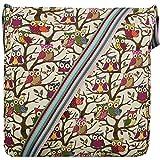 Miss Lulu - Bolso de lona para el hombro, bandolera, diseño de caballo, búho, mariposa, lunares, elefante, gato, perro Búho Beige talla única