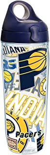 Tervis NBA Indiana Pacers All Over Tumbler with Wrap and Navy with Gray Lid 24oz Water Bottle, Clear