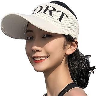 Baseball Cap Top Hat Letter Breathable Long Knit Visor for Women Sun Visor Hats Women Large Brim Summer UV Protection Beach Cap,White