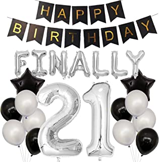 Finally 21 Birthday Party Decorations Happy Birthday Banner 40inch Silver Number 21 Balloons Silver and Black Latex Balloons for 21st Birthday Party Supplies Photo Props (Silver 21)