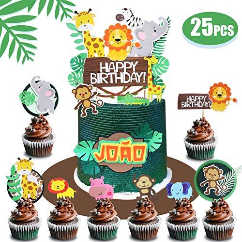 Regendeko 25 Stück Happy Birthday Dschungel Tiere Waldparty Girlande Kuchendekoration Cake Toppers Geburtstagskuchen Deko (25pcs)