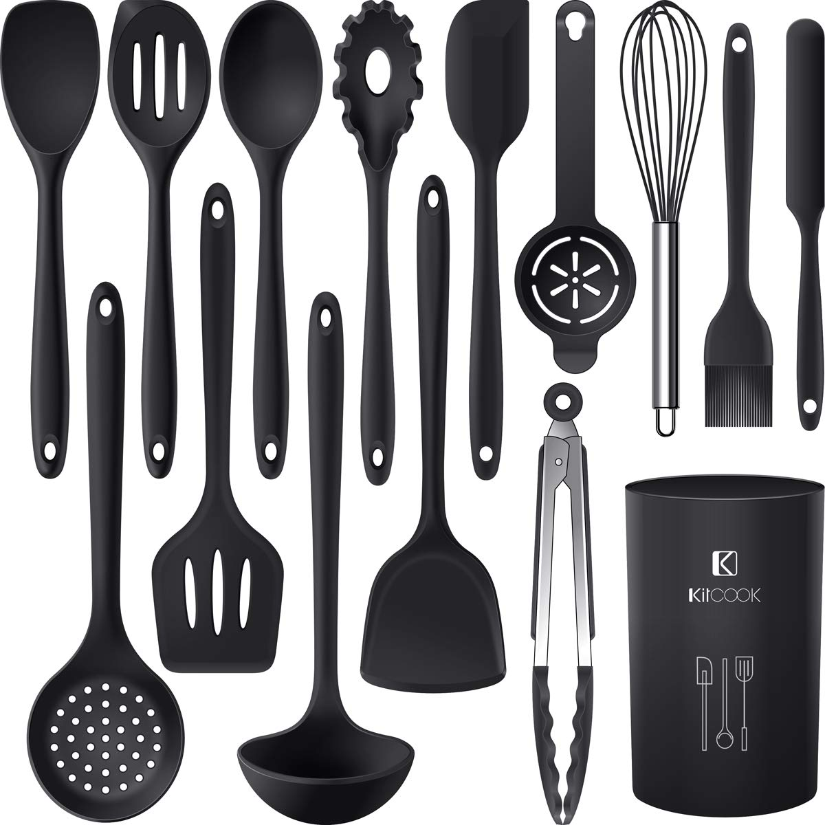 Skimmers Includes Spoon Made of Silicone and Stainless Steel Pasta Server Slotted Turner Soup Ladle HOMQUEN Kitchen Utensil Set 6 Piece Cooking Utensils for Non-Stick Cookware Solid Turner