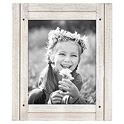 """Americanflat Picture Frame in Aspen White with Three Displays Textured Wood and Polished Glass for Wall and Tabletop - 8"""" x 10"""""""