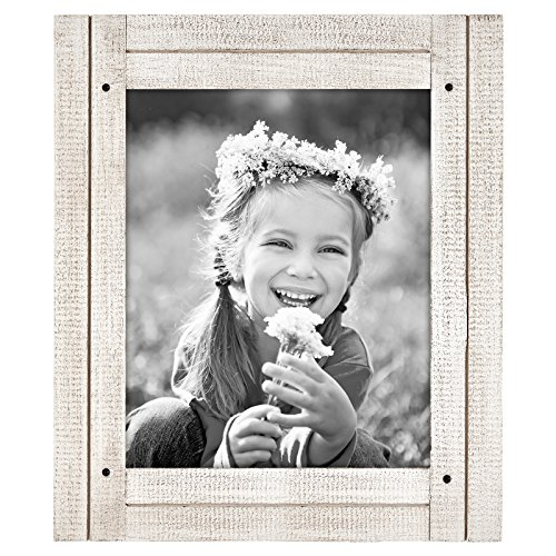 Americanflat 8x10 Rustic Picture Frame in Aspen White with Textured Wood and Polished Glass - Horizontal and Vertical Formats for Wall and Tabletop