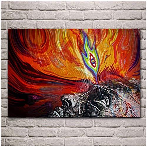 XuFan Despertar el Tercer Ojo Carteles Abstractos Impresiones imágenes Sala de Estar Arte de la Pared decoración del hogar-16X24 Pulgadas sin Marco