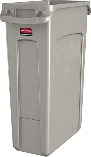 Rubbermaid Commercial Products Slim Jim Plastic Rectangular Trash/Garbage Can with Venting Channels, 23 Gallon, Beige...