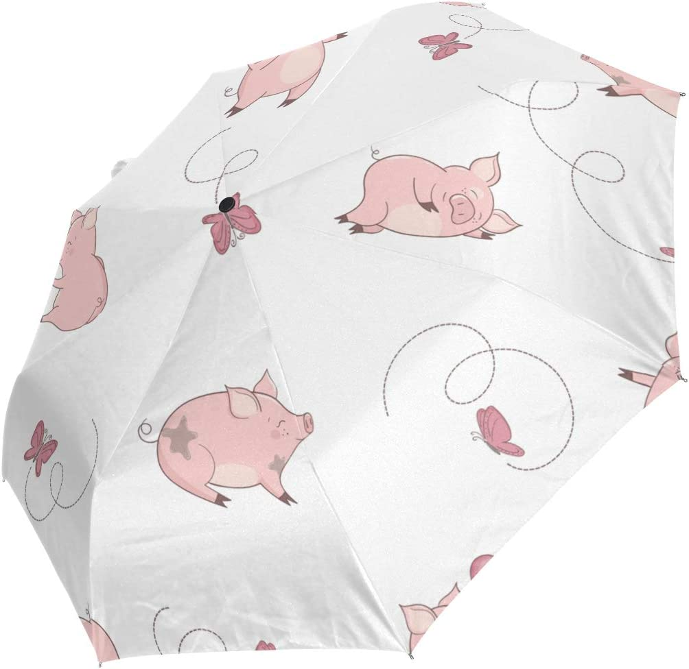 Mini Folding Umbrella New product type San Antonio Mall Cute Pink Windproo Playing Butterflies Pig