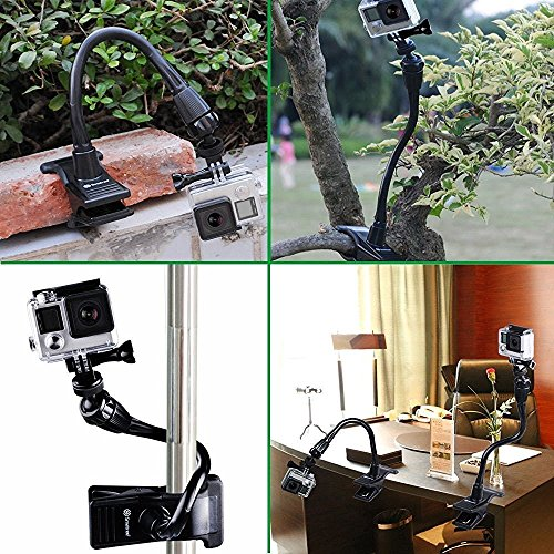 Smatree Adjustable Jaws Flex Clamp Mount 13.4inch Gooseneck Extension Compatible for Logitech Webcam C925e/C922x/C922/C930e/C930/C920/C615/ GoPro Hero 9/8/7/6/5/4/2018/ Arlo Ultra/Pro/Pro 2/Pro 3