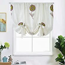 Floral Embroidery Blackout Tie up Shades Cotton Linen Look Embroidered Valances Curtains Room Darkening Balloon Window Treatments Curtains for Small Windows,,46'' W x 63'' L,1 Panel,Cream White