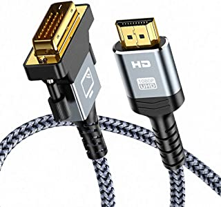 HDMI to DVI Cable (6 Feet) Bi-Directional Nylon Braid Support 1080P Full DVI-D Male to HDMI Male High Speed Adapter Cable ...