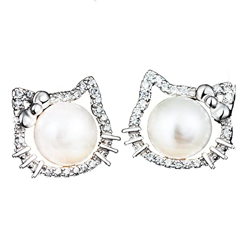 8e876d318 findout ladies sterling silver freshwater pearls Cubic Zircons hello kitty  cat love fashion earrings, for