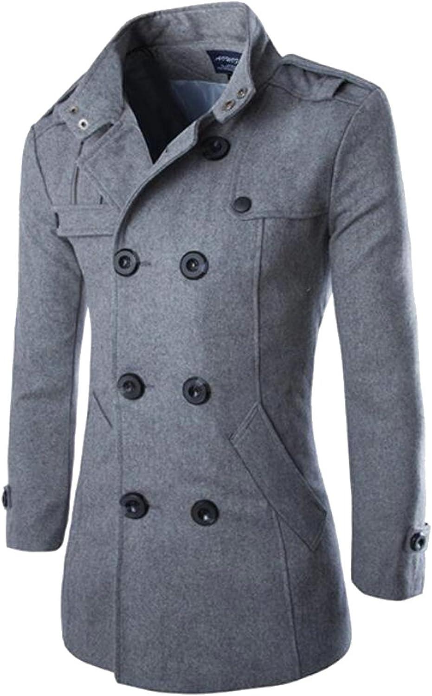 bb062935 Domple Men Thicken Wool Wool Wool Blend Lapel Pea Coat Double-breasted Long  Jacket Coat ee8fc1