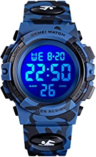 Kids Digital Sport Watch Boys Waterproof Casual Electronic Analog Quartz 7 Colorful Led Watches with Alarm Wrist Watches for Boy Girls Children Dark Blue Camouflage
