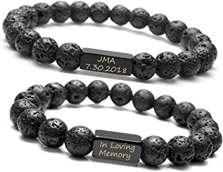 Personalized Master Free Engraving Custom Natural Stone Gemstone Healing Beaded His and Hers Bracelets Set for Couples