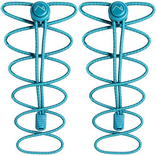 CampTeck U6606 Schnürsenkel mit Schnellverschluss, Elastische Schnürsenkel mit Schnellschnürsystem - Türkis - 1 Paar