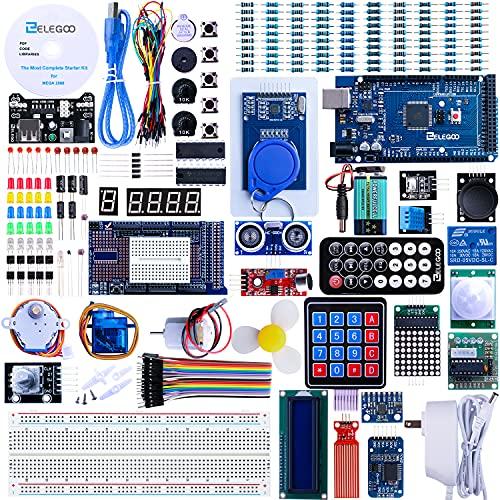 ELEGOO Conjunto Mas Completo y Avanzado de Iniciación Compatible con Arduino IDE MEGA con Guías Tutorial en Español y Conjunto con Placa Controladora MEGA R3, Servomotor, Motor Paso a Paso