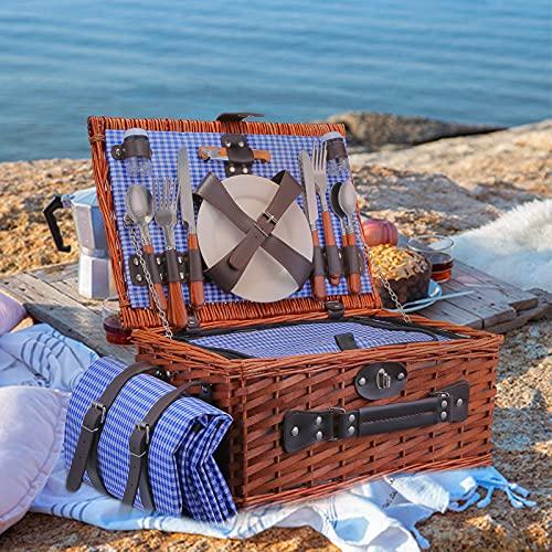 KOSIEJINN Picknickkorb 25 Teiliges für 4 Personen Picknickkoffer Set Durable Handgefertigtes Weidenkorb Besteck Kühlfach Platten und Flaschenöffner mit Zubehör Camping Outdoor Korb Geschenk