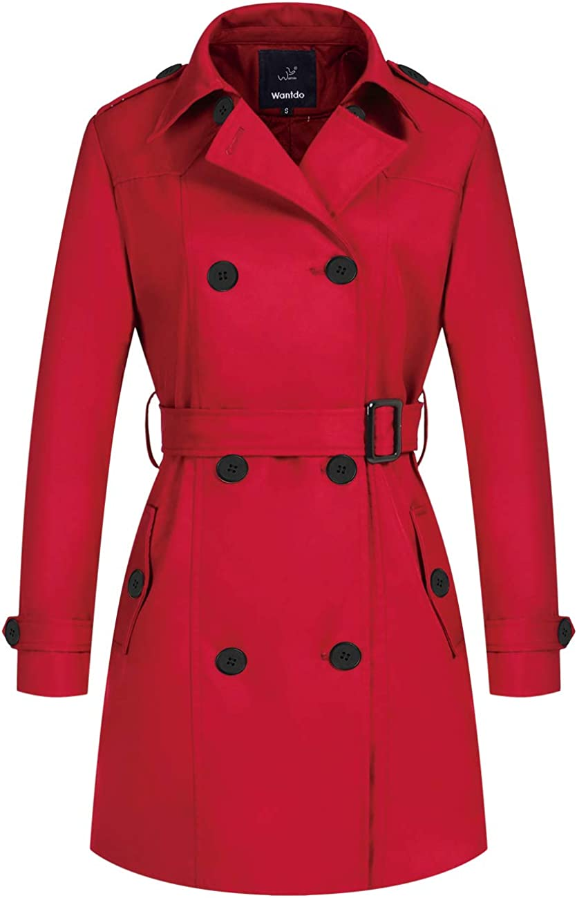 Wantdo Women's Waterproof Double-Breasted Trench Coat Classic Lapel Overcoat Slim Outerwear Coat with Belt