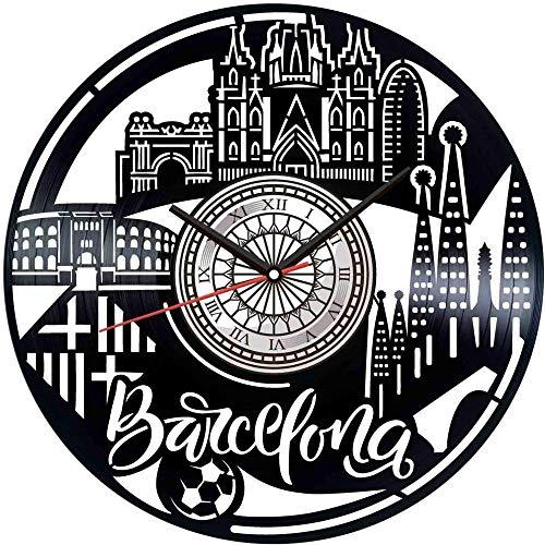 KDBWYC Reloj de Pared con Disco de Vinilo de Barcelona decoración única para el hogar Regalo Hecho a Mano para Hombres Mujeres Amigos niños