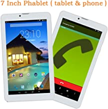 Goldengulf 7 Inch Unlocked Quad Core 3G Phablet Android 4.4 Phone Call Tablet PC 8GB Touch Screen Dual Camera Dual Sim Card Slot Bluetooth Free Leather Cover (Black)