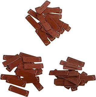 60 peças faça-você-mesmo etiqueta artesanal bordada couro PU etiquetas marrom retângulo