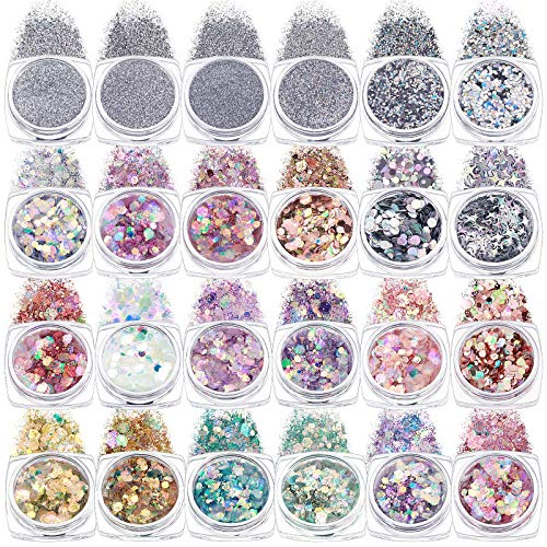 24 Boxes Holographic Nail Art Sequins Sets Glitter Mermaid Powder Nail Art Decorations 3D Flakes Shiny Powder Dust Iridescent Manicure Tips Charms for Face Eyes Body Hair Nail Art