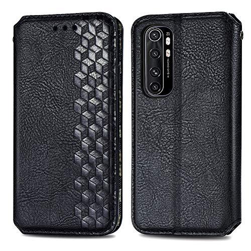 Trugox Handyhülle für Xiaomi Mi Note 10 Lite Hülle Leder Klapphülle mit Kartenfach Ständer Flip Hülle für Xiaomi Mi Note 10 Lite - TRSDA120721 Schwarz