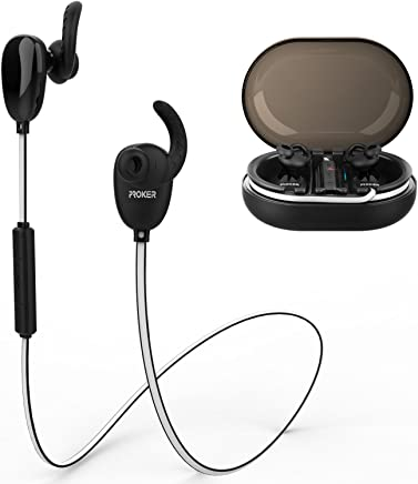 Proker Wireless Bluetooth Headphones Best Sports Earphones w/ Mic IPX7 Waterproof Sweatproof super bass sound Stereo Earbuds for Gym Workout about 18 Hours Battery Noise Reduction Headphones S188