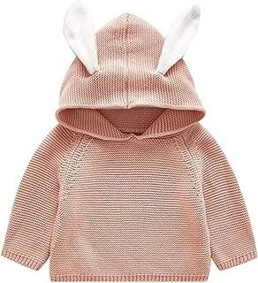 ANJUNIE Toddler Kids Sweater Hoodies Girls Boys Lovely Hooded Warm Knit Crochet Pullover Tops Outwear