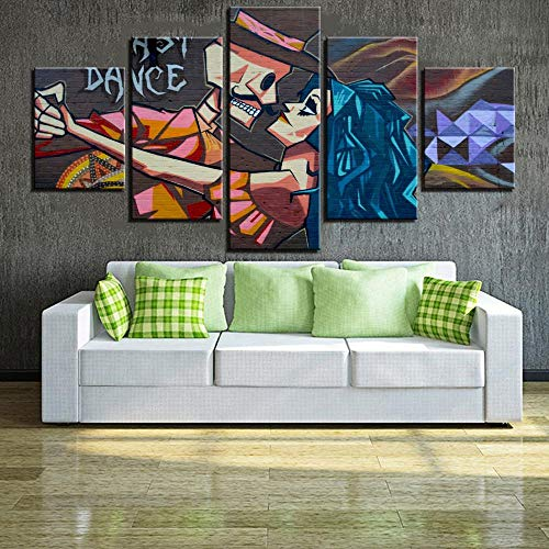 SINIANHUA 5 Pieces Street Art Canvas Painting Cartoon Poster Dancing Pictures A Few Wallpapers for Home Room Decor Modern Furniture 100X50Cm Frameless