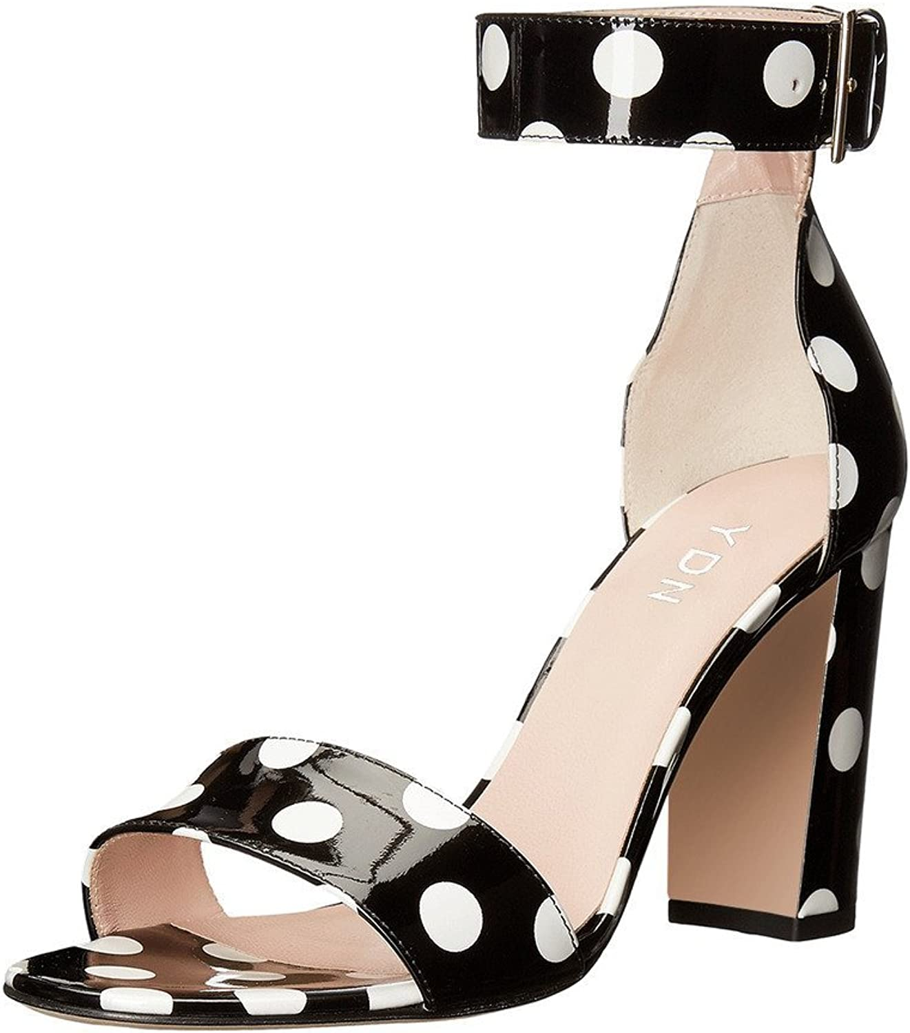 YDN Women Chunky Hight Heel Polka Dot Sandals with Ankle Strap Dressing Prom shoes