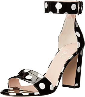 Women Chunky High Heel Sandals Polka Dot with Ankle Strap Dressing Prom Shoes