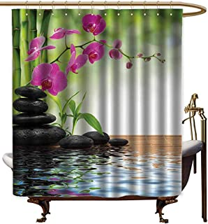 Bathtub Splash Guard,Spa Decor Composition Bamboo Tree Floor Mat Orchid and Stones Wellbeing Greenery Image Pattern,Shower Curtain bar,W94x72L,PolyesterGreen Dimgray Peru