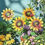 Sungmor Paletti da giardino in metallo - Decorazioni con girasoli e insetti Ornamenti - 4 ...