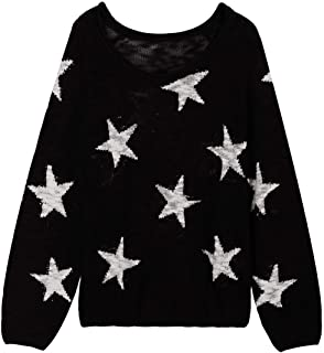 COCOLEGGINGS Women`s Boat V Neck Long Sleeve Star Pullover Sweater Tunic Tops