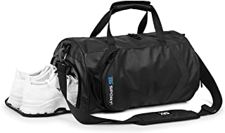 HUANGHENG Fitness Sports Gym Bag with Shoes Compartment and Wet Pocket Waterproof Small Travel Duffel Bag for Men and Women (black)