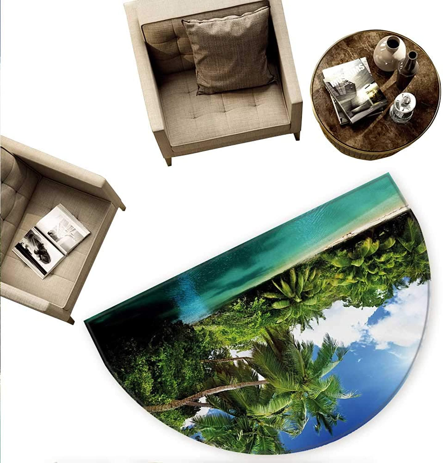 Jungle Semicircle Doormat Mahe Island Seychelles Lake and Palms with Clear Morning Sky Forest Vacation Halfmoon doormats H 74.8  xD 112.2  Aqua Green White
