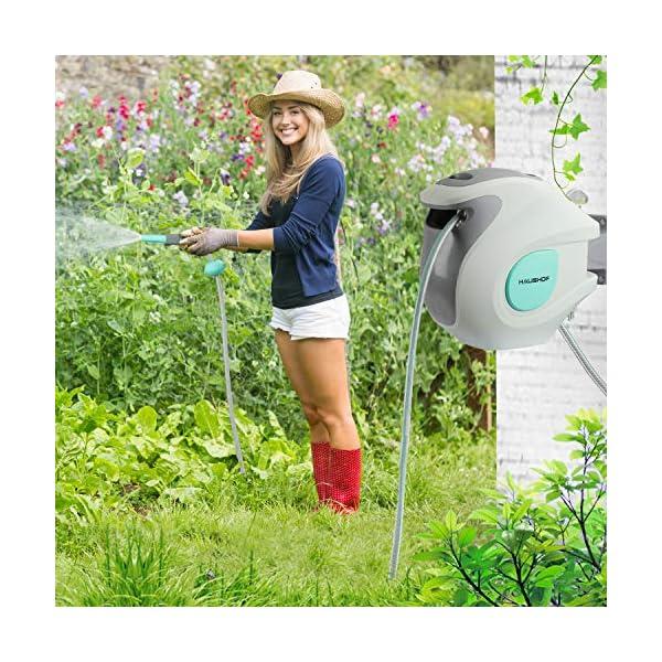 HAUSHOF Carrete para Manguera Manguera de Riego 20M+2M 9 Modos de Pulverización 180° Giratorio para Riego de Jardín…