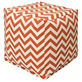 Majestic Home Goods Burnt Orange Chevron Indoor/Outdoor Bean Bag Ottoman Pouf Cube 17' L x 17' W x 17' H