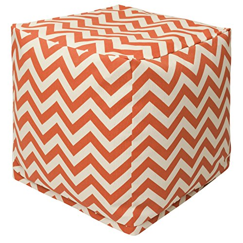 "Majestic Home Goods Burnt Orange Chevron Indoor/Outdoor Bean Bag Ottoman Pouf Cube 17"" L x 17"" W x 17"" H"