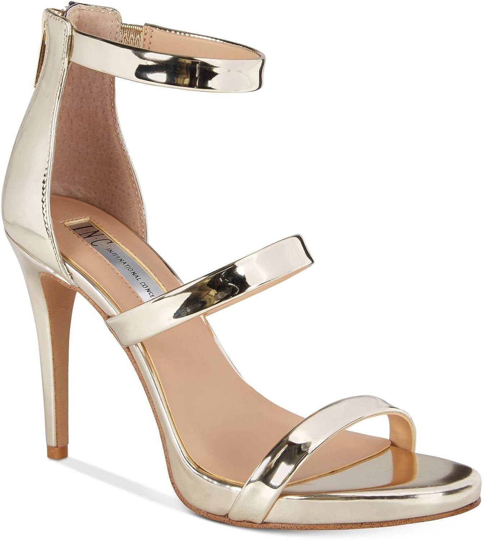Inc Womens Sadiee Patent Stiletto Dress Sandals gold 11 Medium (B,M)