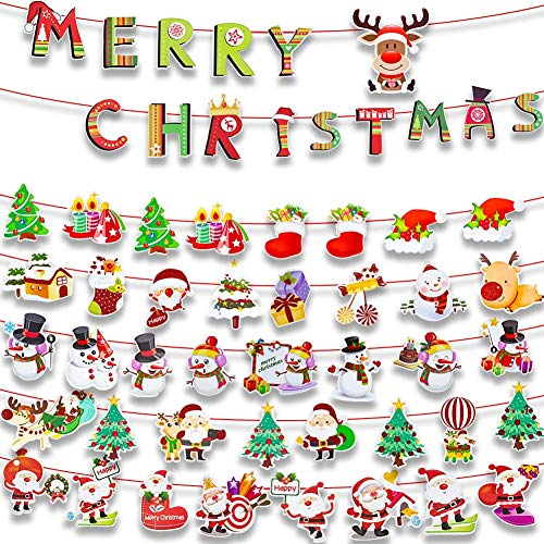 GoHist Christmas Banner Hanging Flag Christmas Decorations Party Home Banner Decoration Christmas Garland Banner Merry Christmas Paper Banner for Christmas New Year Party Decoration