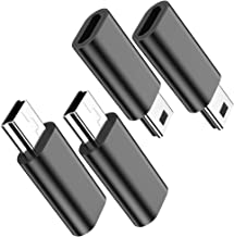 Micro USB to Mini USB Adapter, (4-Pack) Micro USB Female to Mini USB Male Convert Connector Support Charge & Data Sync Compatible PS3 Controller, MP3 Player, Dash Cam, Digital Camera, Hero 3+(Black)