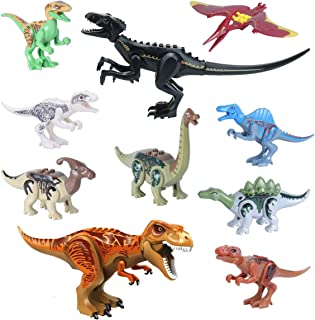 "Dinosaur Toys, 12"" Jumbo Dinosaur Building Blocks 2 pcs, 5"" Mini Jurassic Dinosaur Miniature Action Figures Playset 8 pcs for Easter Basket Stuffers"