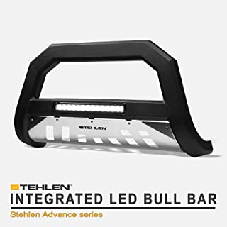 Stehlen 733469493143 Advance Series Aluminum LED Bull Bar - Matte Black/Brush Aluminum Skid Plate For 07-18 Chevy Silverado/Tahoe/Suburban/GMC Sierra/Yukon/XL 1500